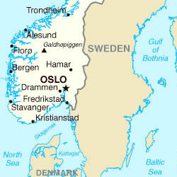 La Norvegia Cartina.Cartina Della Norvegia Norvegia